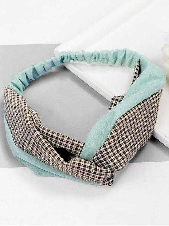 affordable Vintage Plaid Knot Elastic Hairband - PALE BLUE LILY