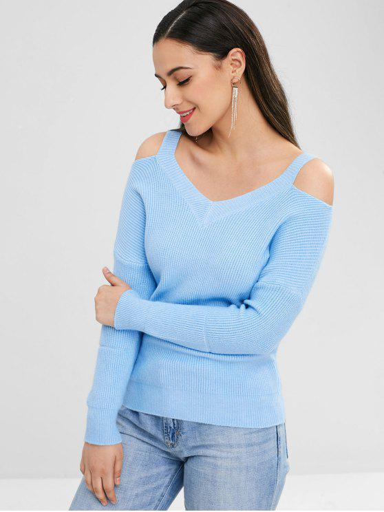 sale Cut Out Drop Shoulder Sweater - DAY SKY BLUE ONE SIZE