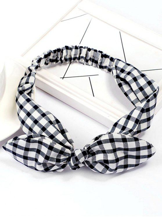 unique Checked Pattern Bowknot Elastic Hairband - BLACK