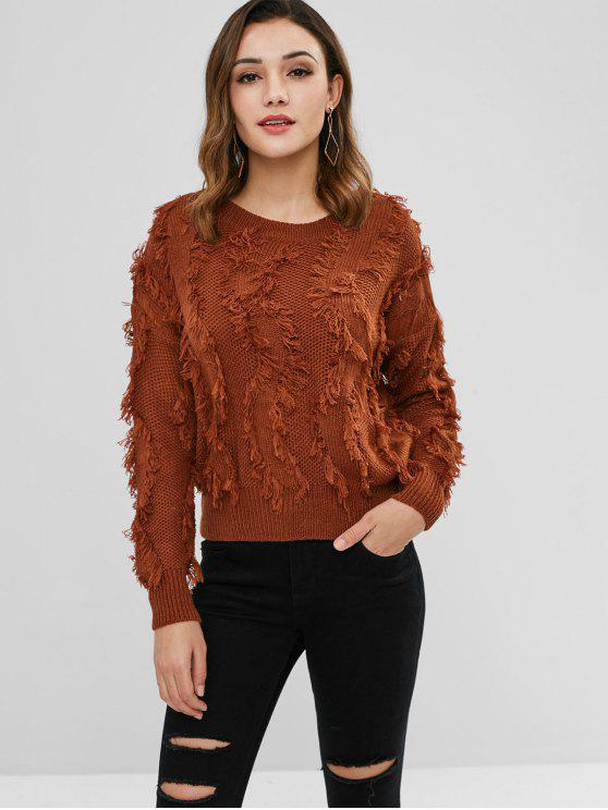 womens Pullover Frayed Fringes Sweater - BROWN ONE SIZE
