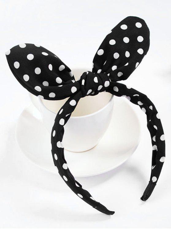outfit Cute Polka Dot Bowknot Hair Hoop - BLACK