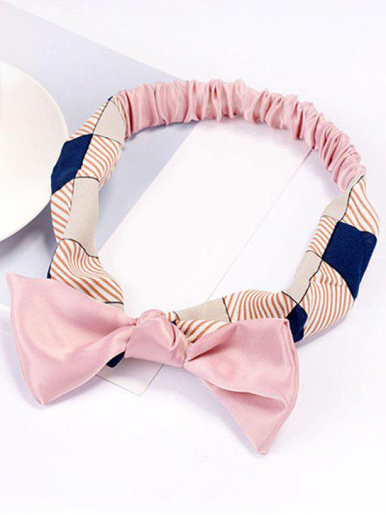 latest Cute Bowknot Striped Elastic Hair Band - PINK