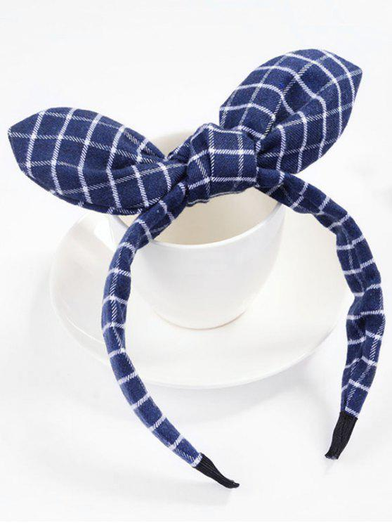latest Checked Pattern Bowknot Hair Band - LAPIS BLUE