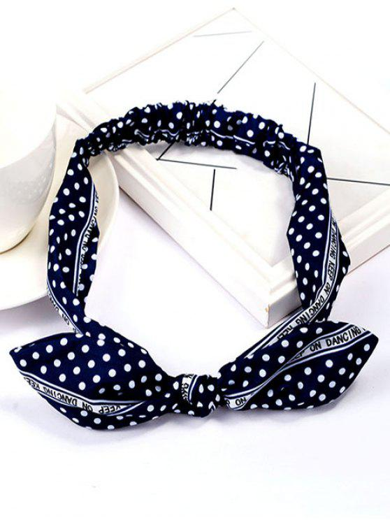 shops Polka Dot Bowknot Elastic Silky Cloth Hairband - DENIM DARK BLUE