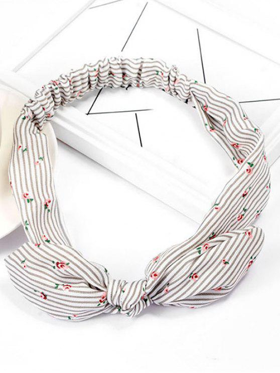 trendy Vintage Floral Striped Hairband - GRAY GOOSE