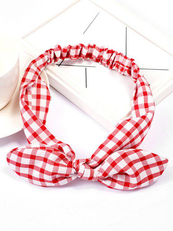 buy Checked Pattern Bowknot Elastic Hairband - RED