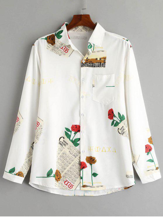 women Newspaper Rose Print Casual Shirt - WHITE 2XL