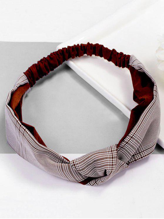 hot Vintage Plaid Knot Elastic Hairband - RED WINE