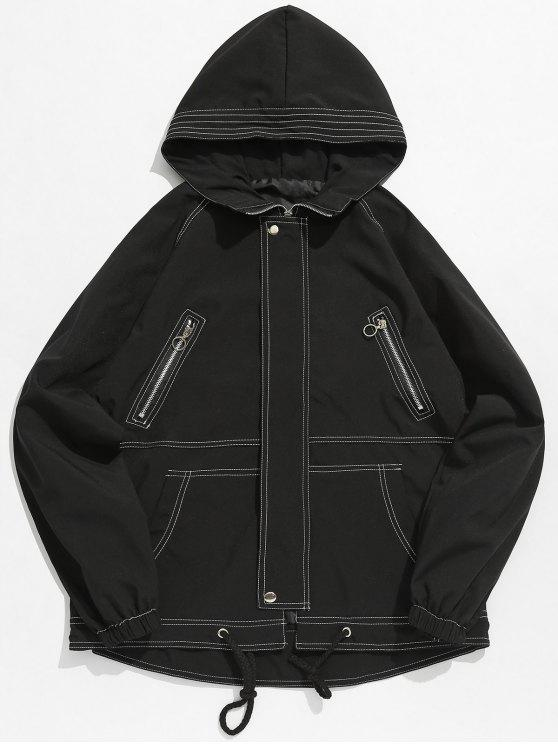 hot Multi Pockets Letter Stitching Jacket - BLACK 3XL