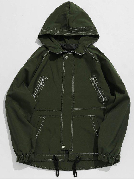 Giacca Stampata Lettere Con Tasche - Verde Dell'esercito 2XL