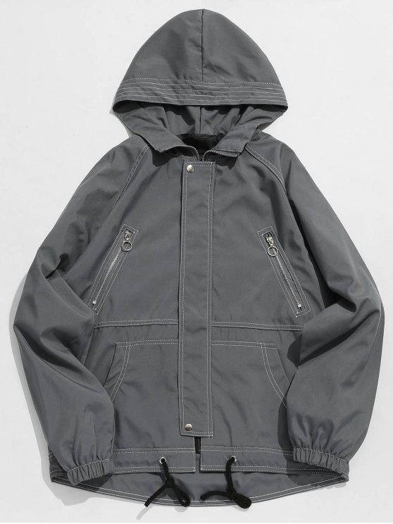 fancy Multi Pockets Letter Stitching Jacket - GRAY L