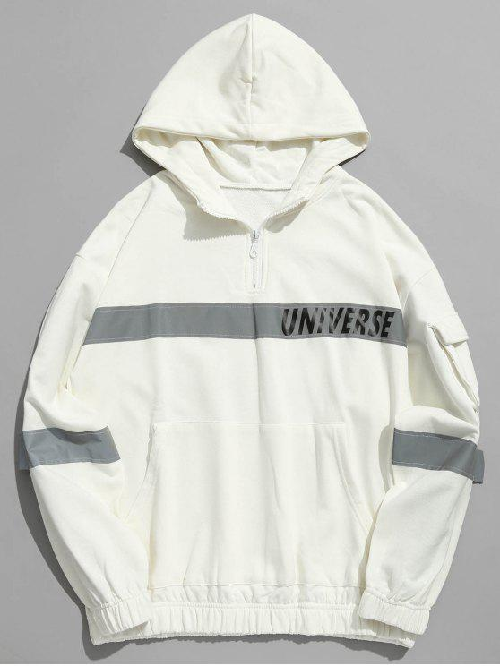 hot Quarter Zip Reflective Stripe Patch Hoodie - WHITE XL
