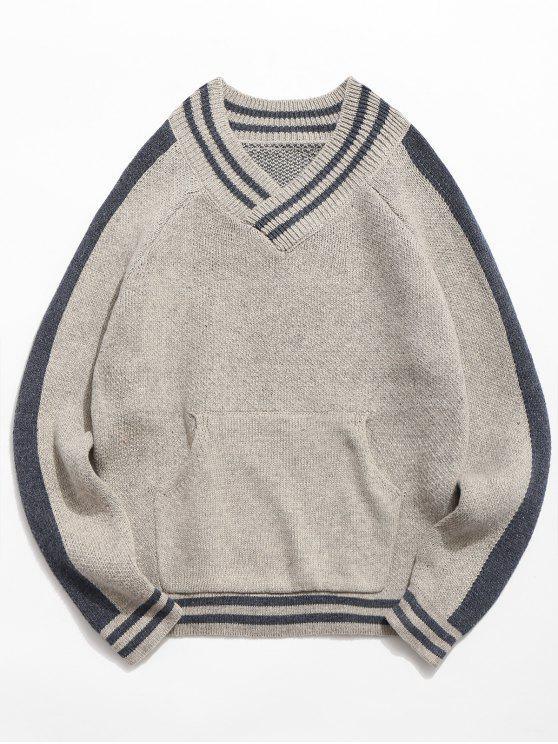 chic V Neck Pocket Striped Knitted Sweater - LIGHT GRAY L