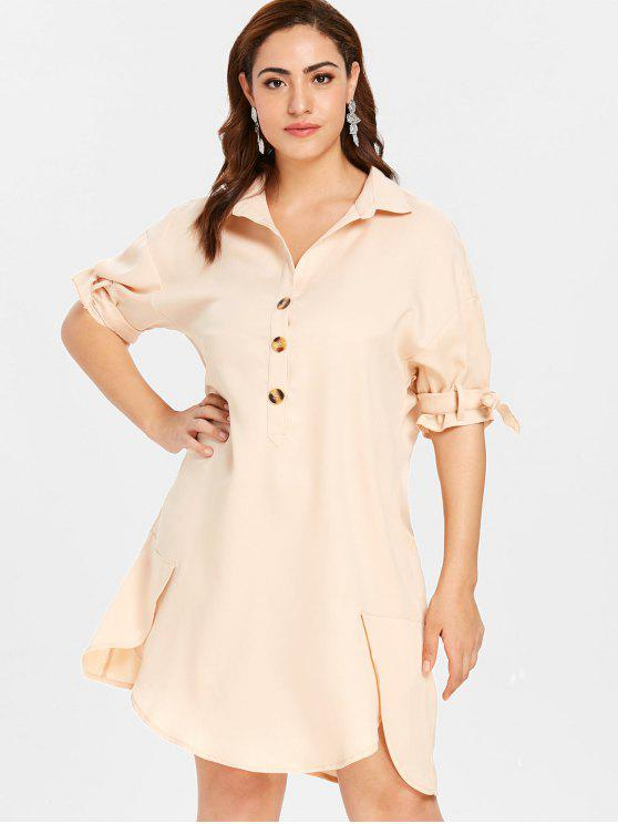 hot ZAFUL Plus Size Shift Buttoned Shirt Dress - BLANCHED ALMOND 1X