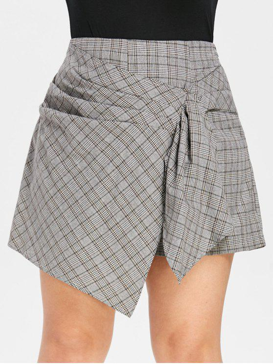 new ZAFUL Plus Size Asymmetric Ruched Plaid Shorts - MULTI L