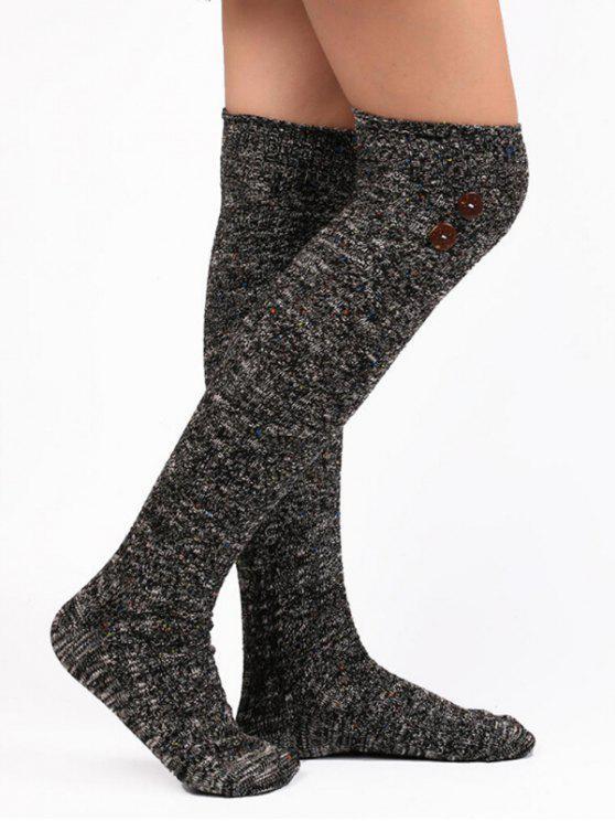 ladies Vintage Button Colormix High Knee Socks - BLACK