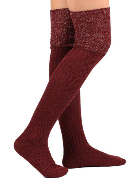 online Color Block Thigh High Socks - RED WINE