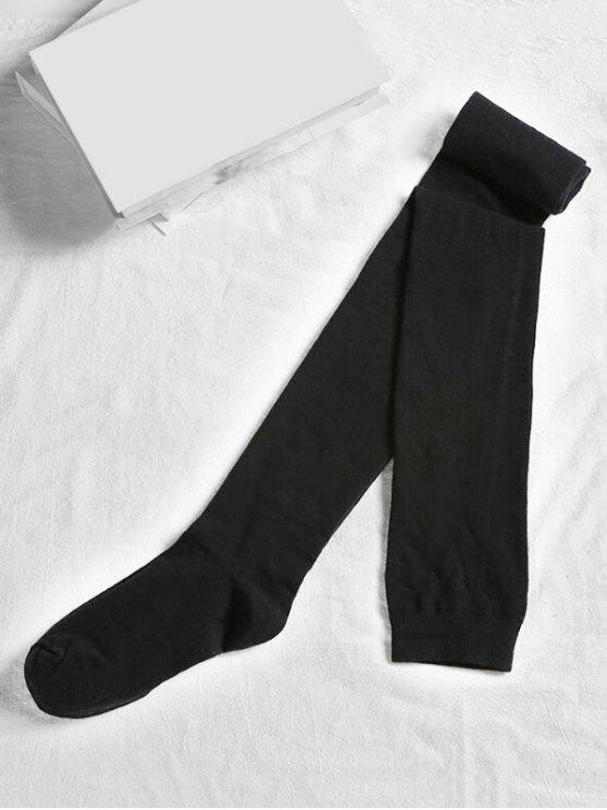 outfits Solid Color Cotton Thigh High Socks - BLACK