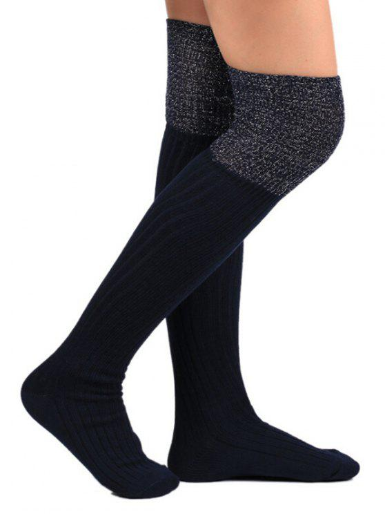 fashion Color Block Thigh High Socks - BLACK