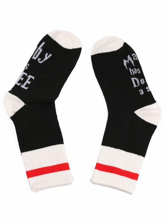 womens Fun Letter Printed Medium Socks - BLACK