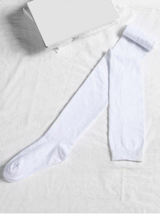 online Solid Color Cotton Thigh High Socks - WHITE