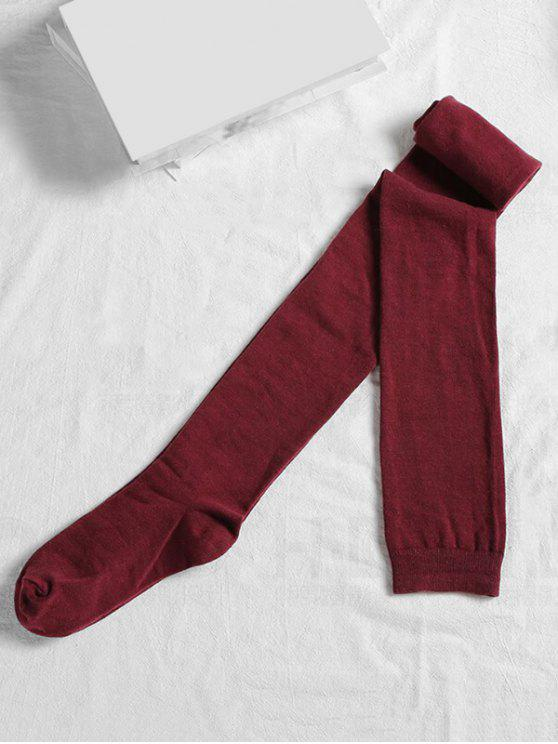chic Solid Color Cotton Thigh High Socks - RED WINE