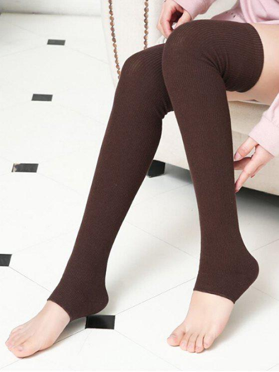 affordable Winter Solid Color Leg Warmers - COFFEE