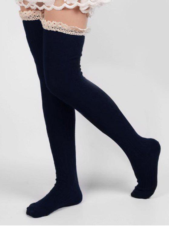 shop Solid Color Lace Thigh Stockings - CADETBLUE