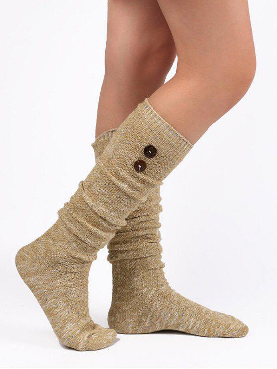 online Vintage Button Colormix High Knee Socks - TAN