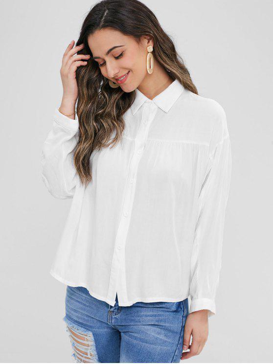 fashion Gathered Smock Shirt - WHITE S