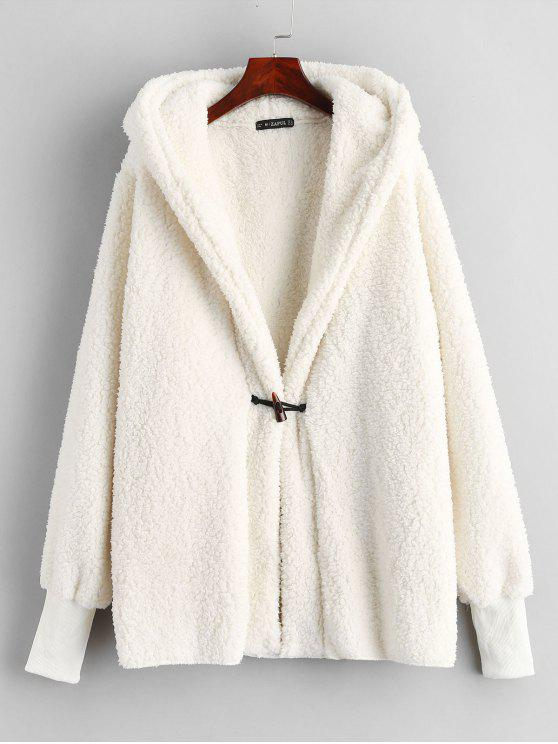 best ZAFUL Faux Shearling Winter Coat - WARM WHITE M