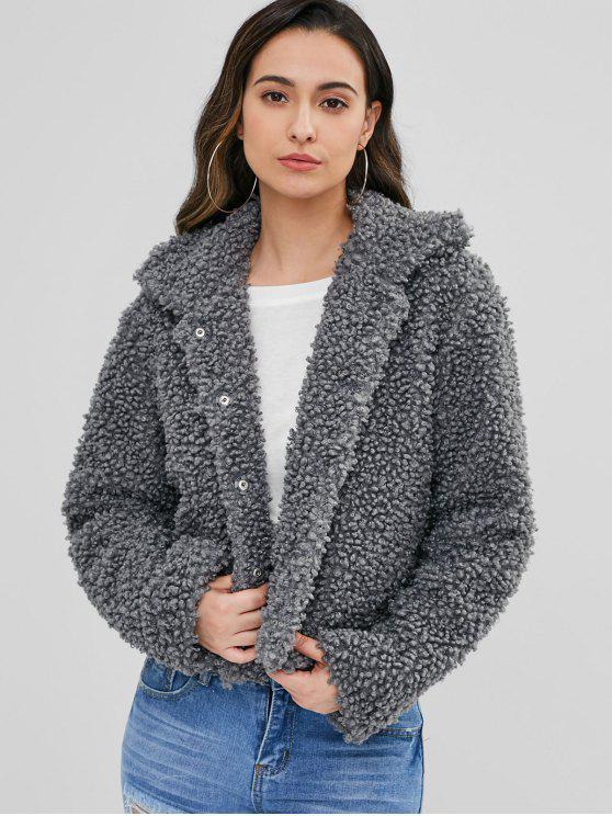 fancy ZAFUL Fluffy Faux Fur Short Winter Teddy Coat - DARK GRAY L