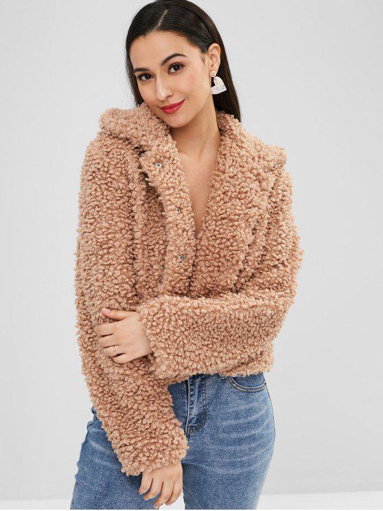 women's ZAFUL Fluffy Faux Fur Short Winter Teddy Coat - TAN S