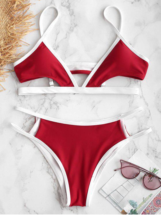 ZAFUL Conjunto de Bikini recortado en Contraste - Rojo Lava M