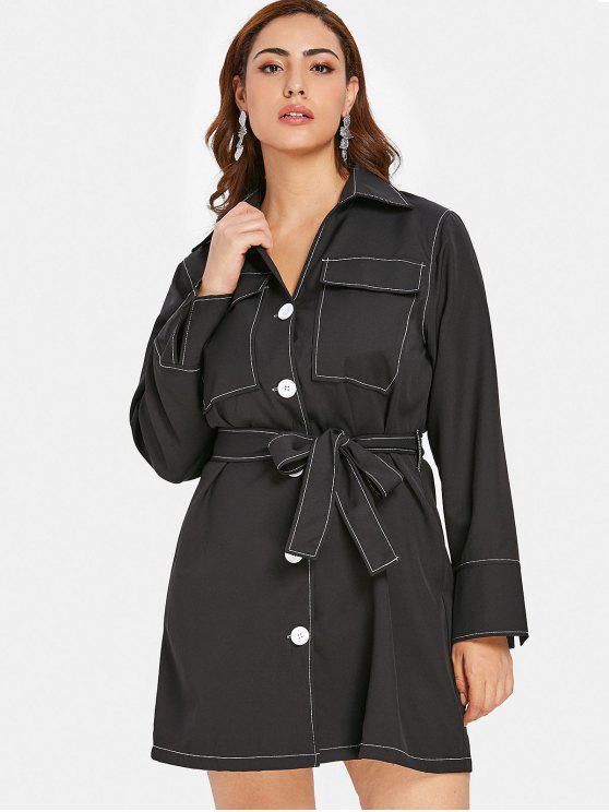 fashion ZAFUL Button Up Plus Size Shirt Dress - BLACK 4X