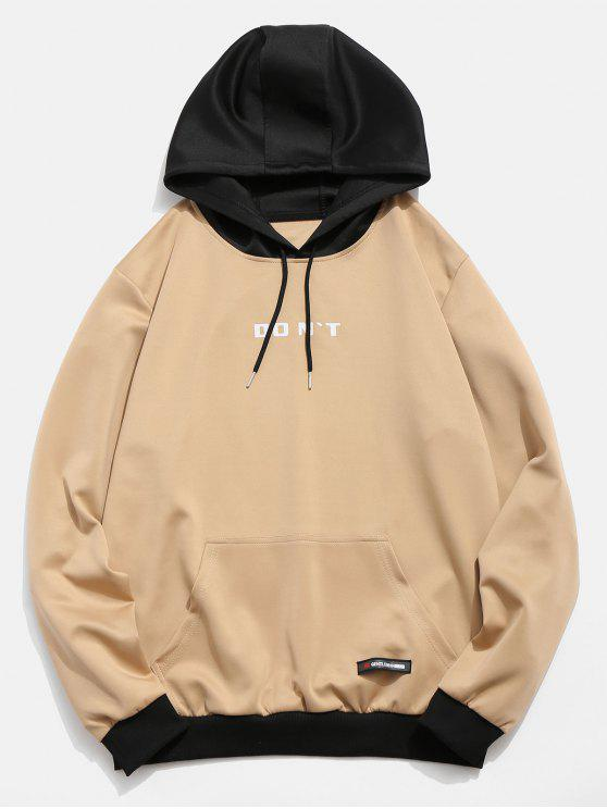 shop Contrast Color Letter Pocket Hoodie - KHAKI XS