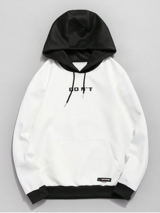 women's Contrast Color Letter Pocket Hoodie - WHITE L