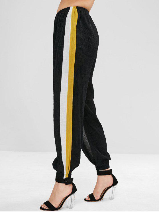 buy ZAFUL Side Stripe Crinkled Joggers Pants - BLACK L