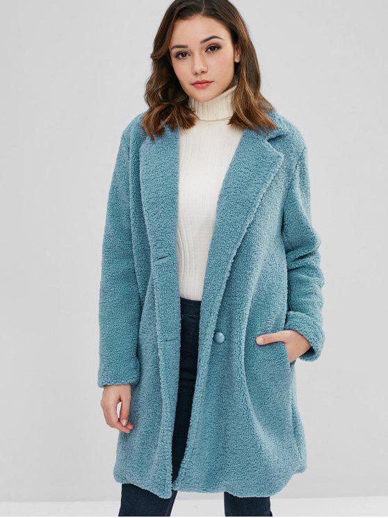 buy ZAFUL Fluffy Faux Fur Winter Teddy Coat - SILK BLUE XL
