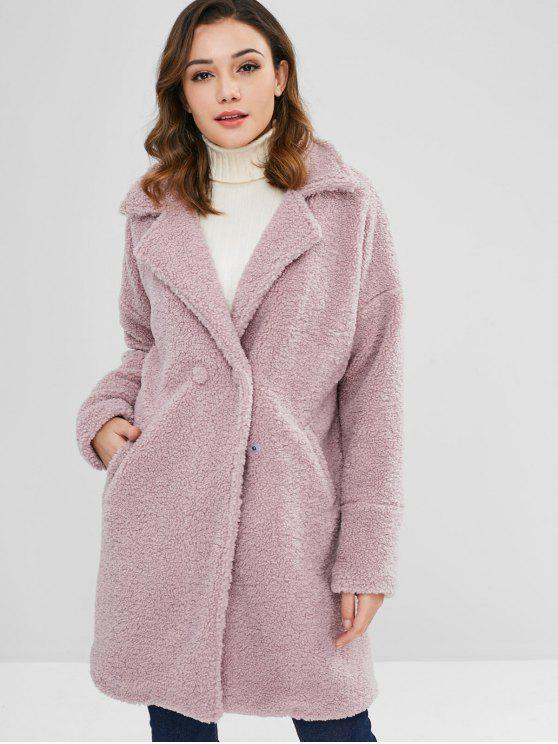 trendy ZAFUL Faux Shearling Teddy Winter Coat - WISTERIA PURPLE L
