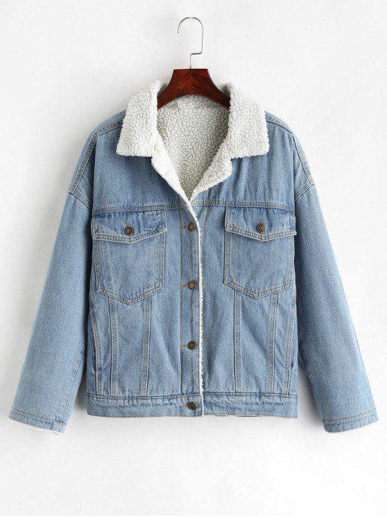 Drop Shoulder Fleece Denim Jacket   Denim Blue Xl by Zaful