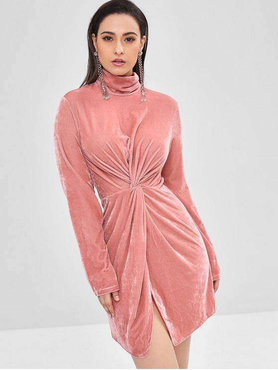 women ZAFUL Twist Front Turtleneck Velvet Dress - FLAMINGO PINK L