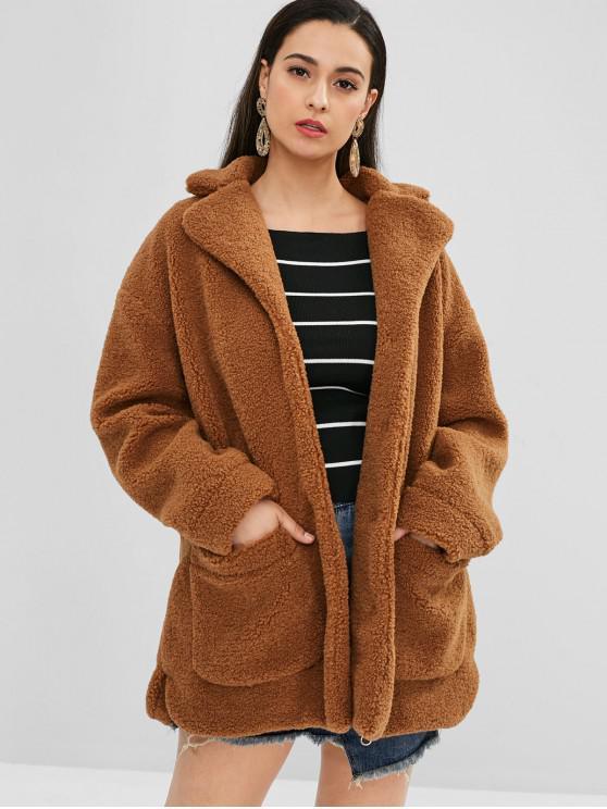 sale ZAFUL Faux Fur Oversized Winter Coat - BROWN L