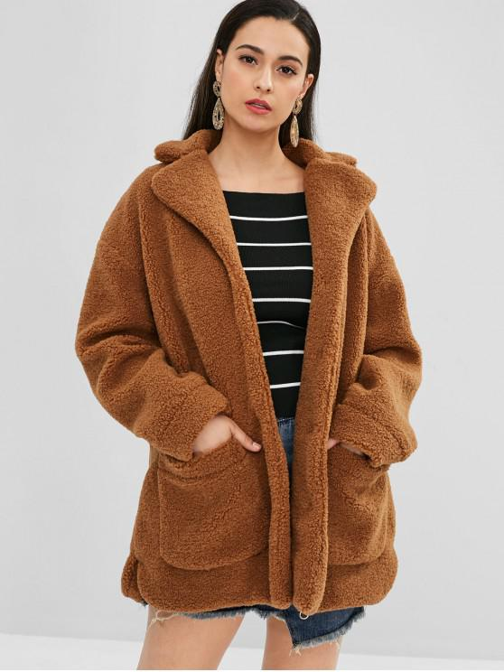 buy ZAFUL Faux Fur Oversized Winter Coat - BROWN S