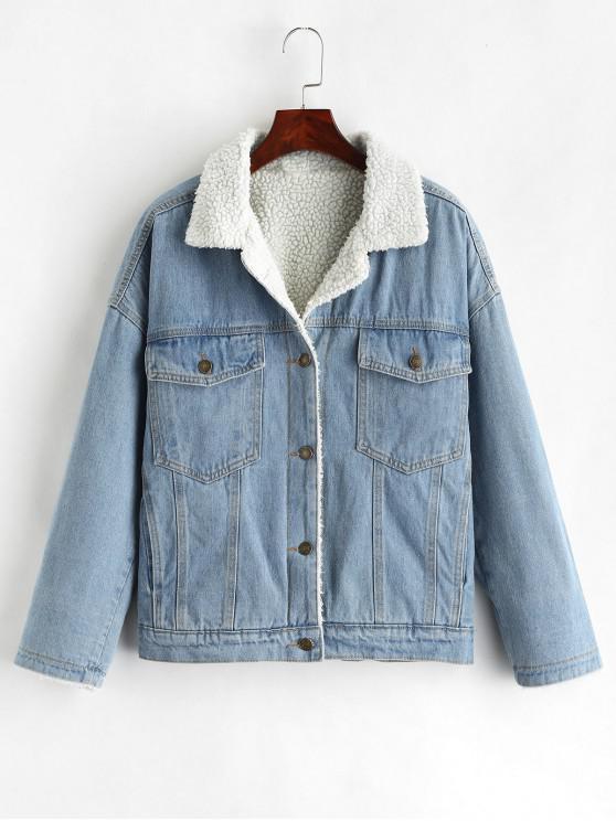 latest Drop Shoulder Fleece Denim Jacket - DENIM BLUE XL