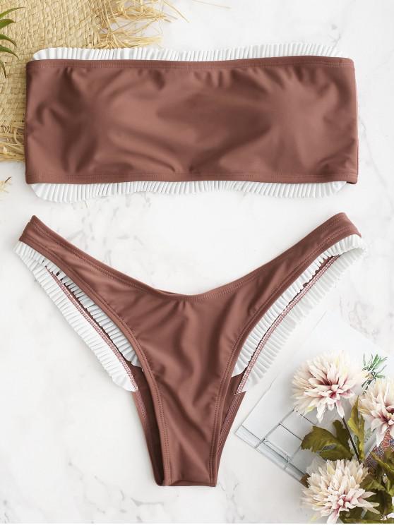 shops ZAFUL Contrasting Frilled Bandeau Bikini Set - ROSE GOLD L