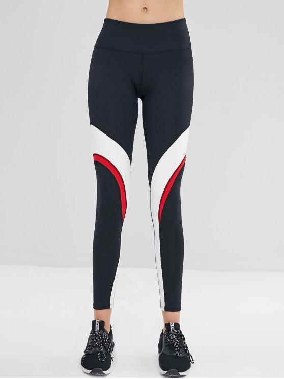 sale ZAFUL Color Block Wide Waistband Leggings - BLACK L