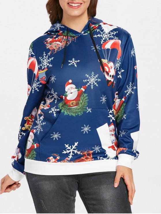 Plus Size Santas Snowflake Print Christmas Hoodie - Albastru L