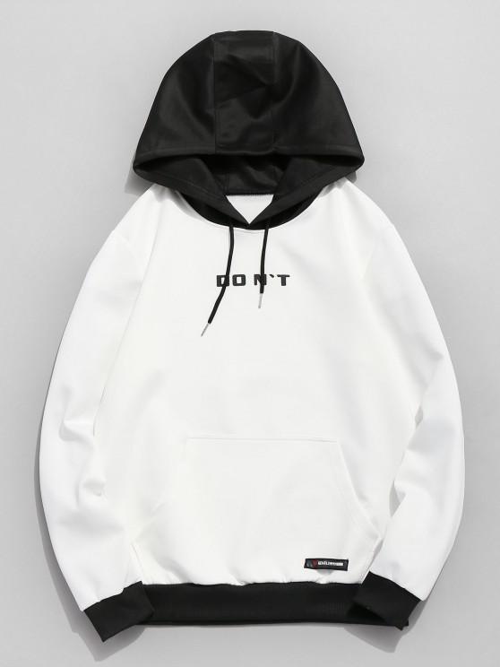 Contrast color Hoodie buzunar - alb XS