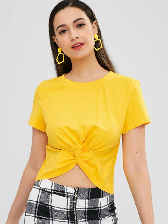 trendy Smile Face Print Graphic Cropped Twisted Tee - BRIGHT YELLOW XL